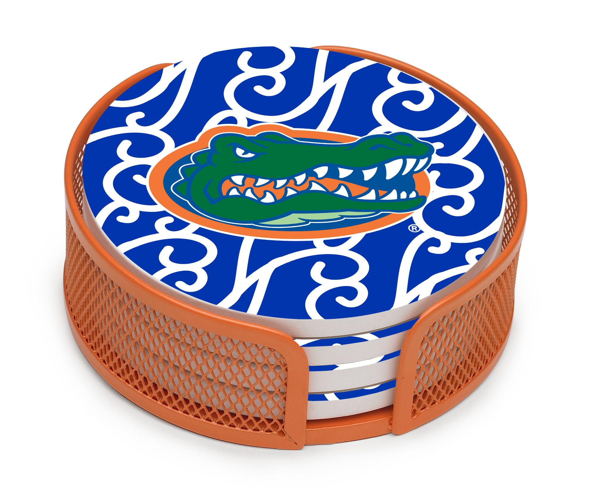 University Of Florida Swirls Collegiate Gift Set 5 Piece Coaster Set With Holder Coaster Gift Set Coaster Set Unique Coasters