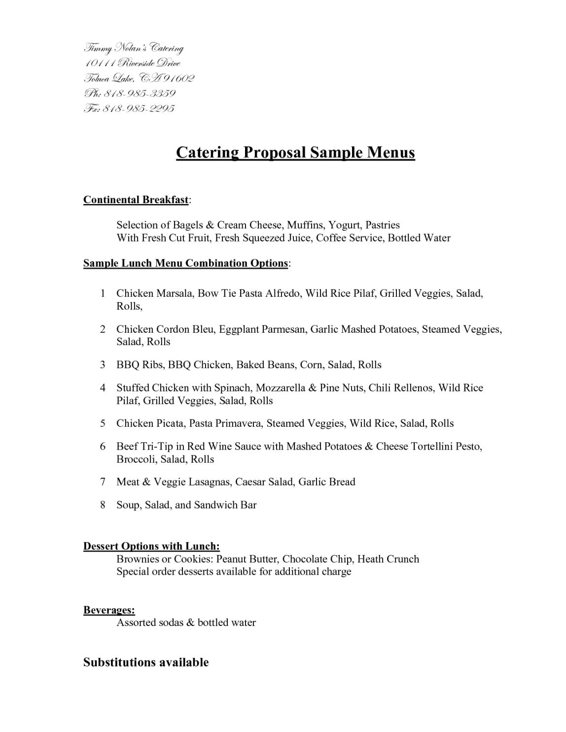 Catering Proposal Template in 2020 Proposal templates