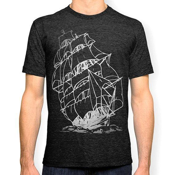 Pirate Ship Tshirt Nautical T shirt Sailing Ship by