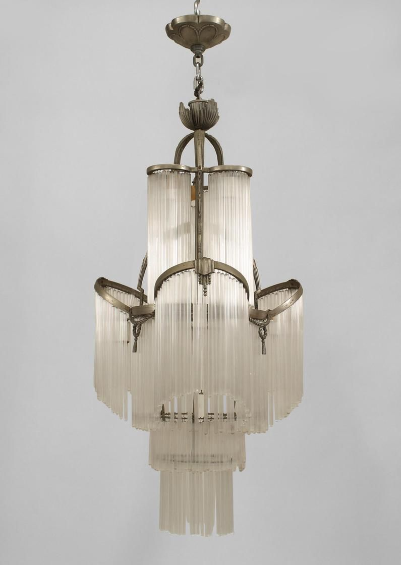 French Art Deco Nickel Plated Chandelier With Rope And Tassel Trim