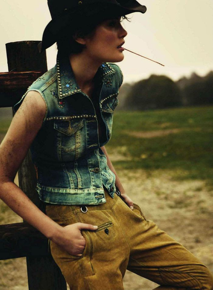 Even Cow Girls Get the Blues! Catherine McNeil is photographed by Knoepfel & Indlekofer for Vogue Paris.