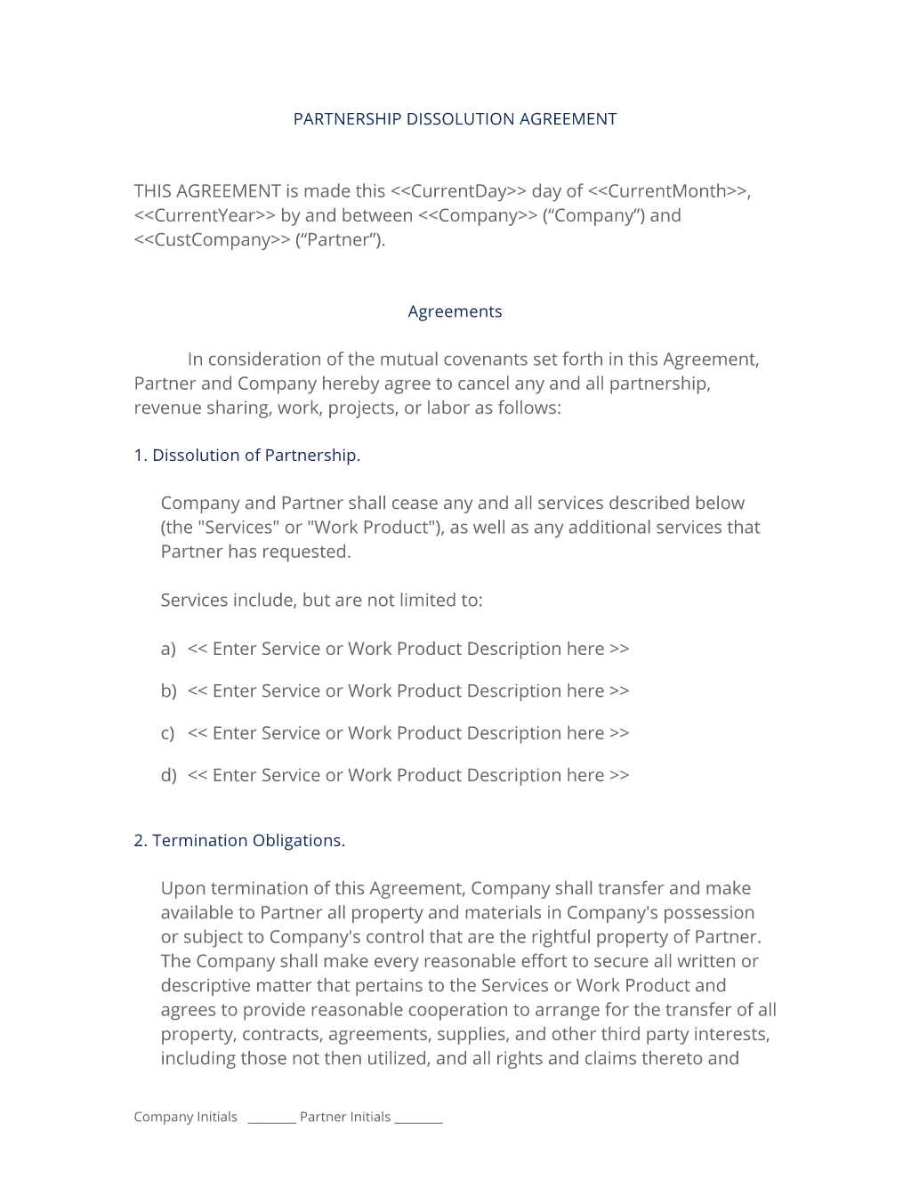 Partnership Dissolution Agreement  Use The Partnership