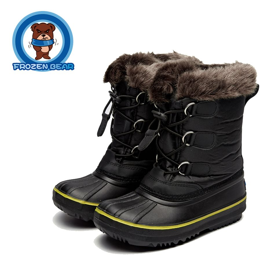43af2465a Botas para la nieve Niño de Piel Botas Calientes Suaves Mediados de-becerro  Niños Botines Impermeables Del Invierno Del Bebé Zapatos de Color Rosa Niñas  ...