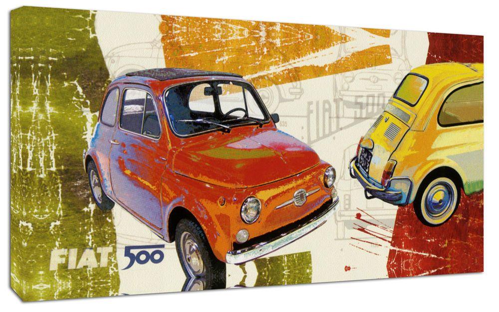 Dettagli Su Quadro Moderno Arredamento Fiat 500 Vintage Arte Arredo