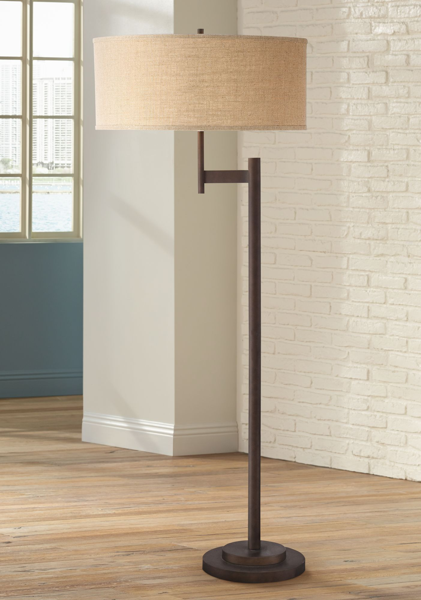 Possini Euro Parker II Light Blaster Floor Lamp Bronze