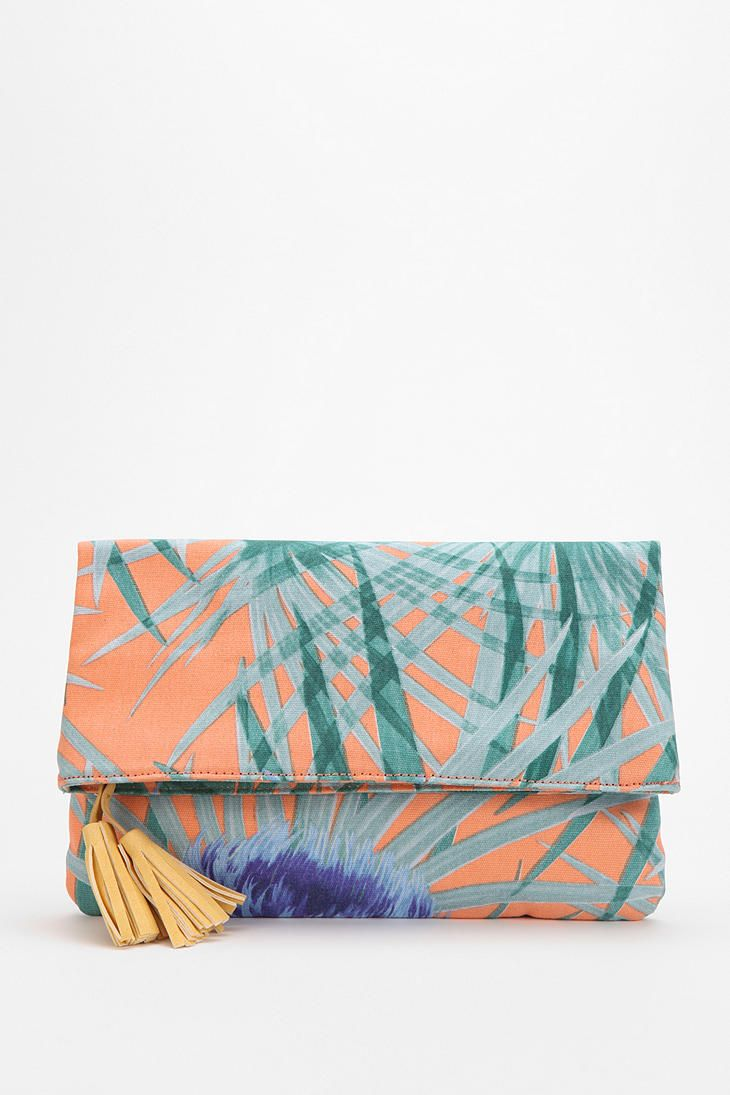 Kimchi Blue Palm Print Fold-Over Clutch - Urban Outfitters