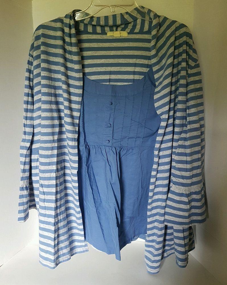Womens Brina Em Striped Blue Gray 3 4 Sleeve Blouse 100 Cotton 3X | eBay
