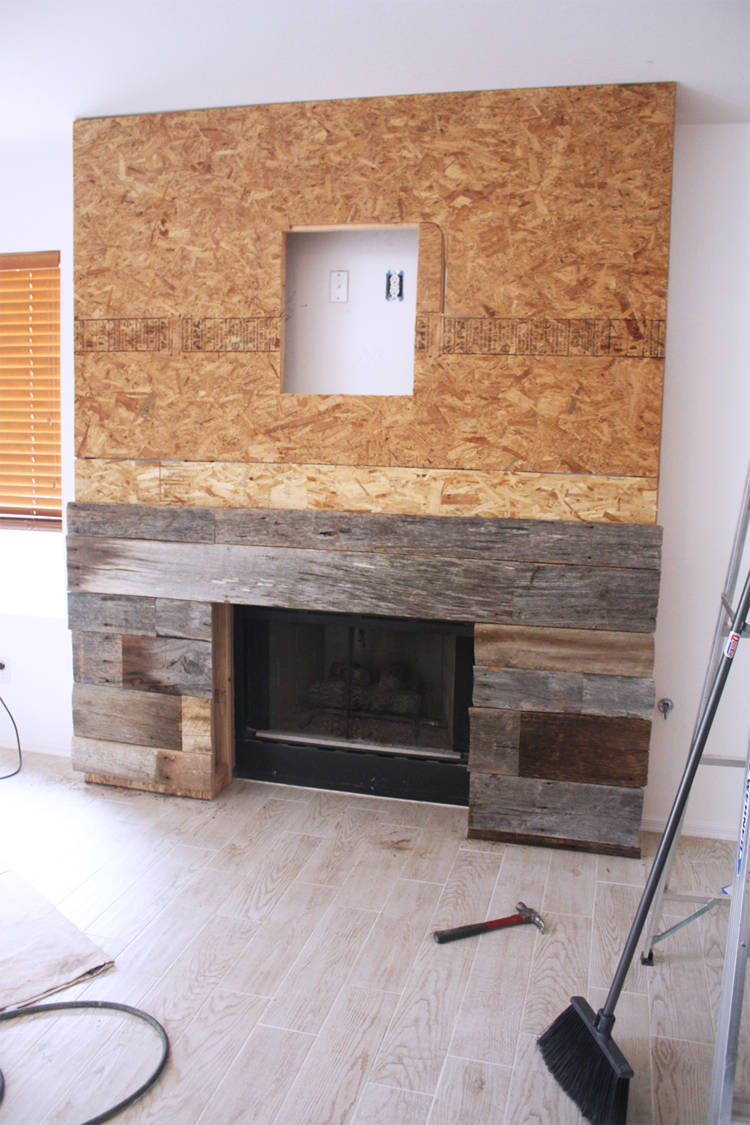 DIY Reclaimed Wood Fireplace Nail gun Wood pieces and Woods