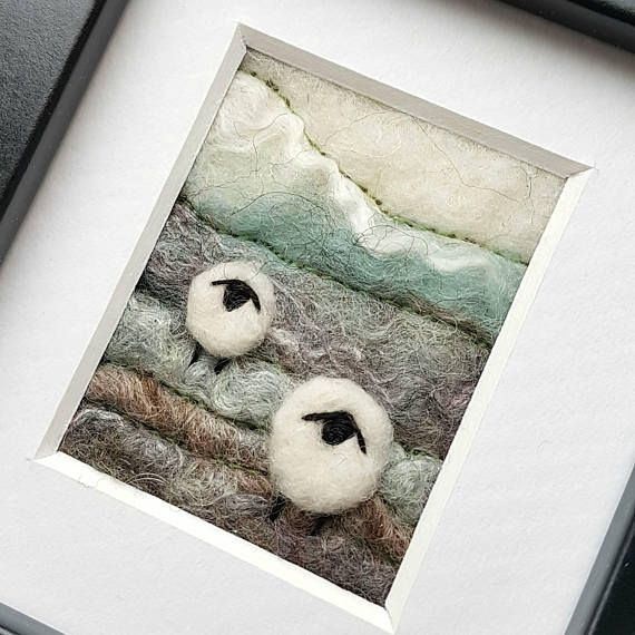 Original textile art picture by Fly Tea Dance  https://www.etsy.com/uk/listing/397830875/sheep-on-a-shropshire-hillside-needle