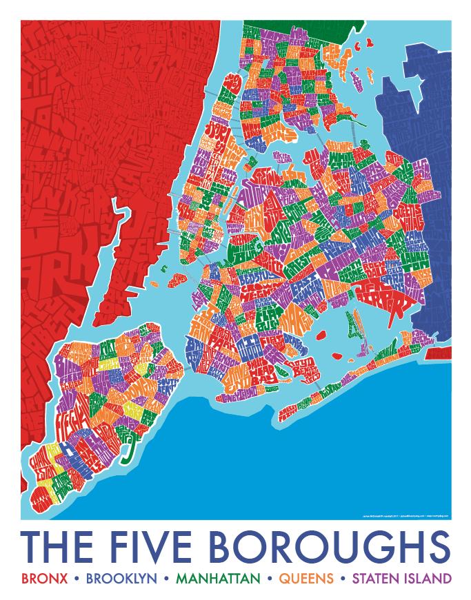 5 Borough Neighborhood Type Map Gift Ideas Pinterest Map Of