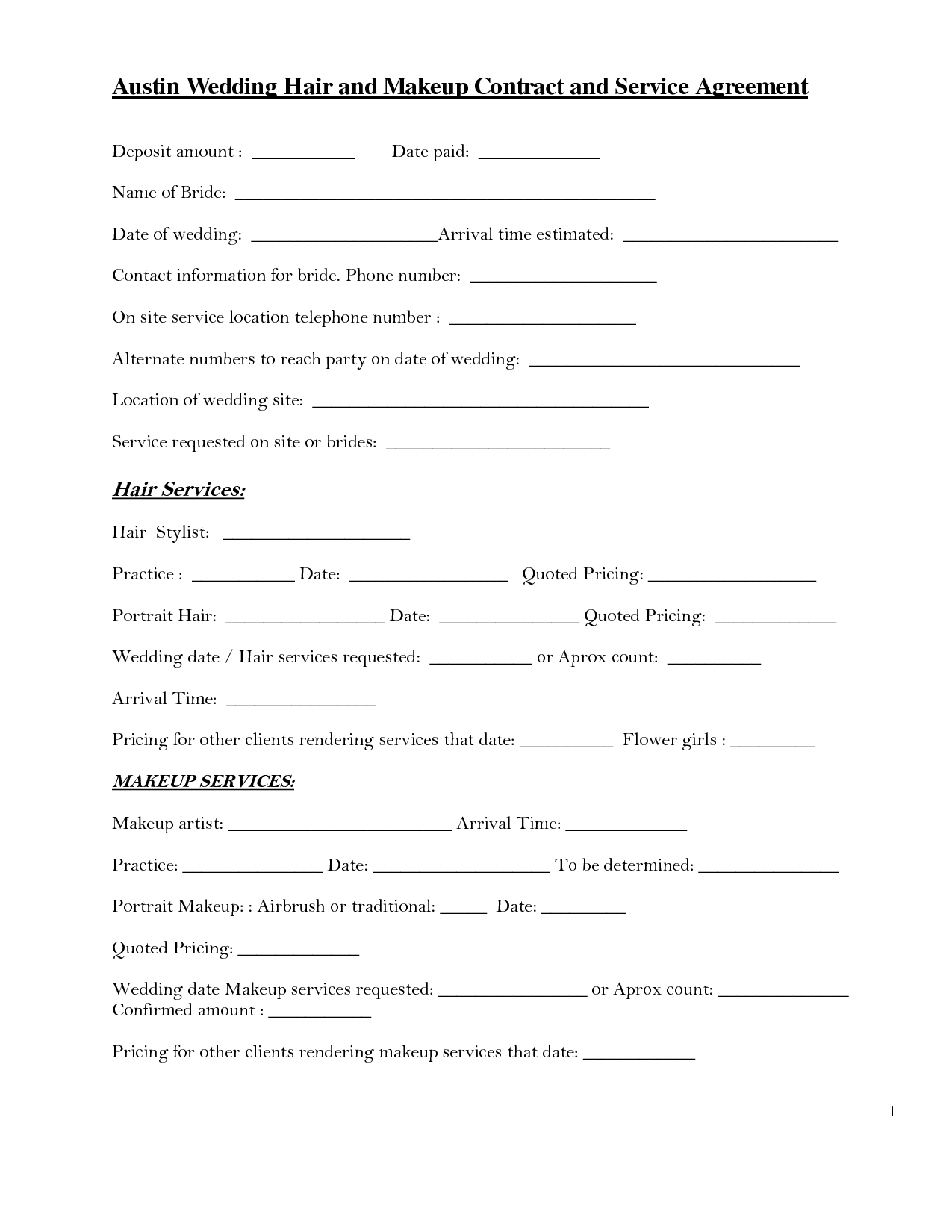 Hair Stylist Wedding Forms And Contract If Instant  Sample