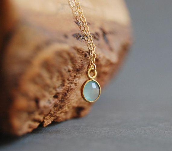 Kamaka necklace aqua chalcedony gold necklace delicate gold aqua chalcedony gold pendant necklace etsy httpetsy aloadofball Gallery