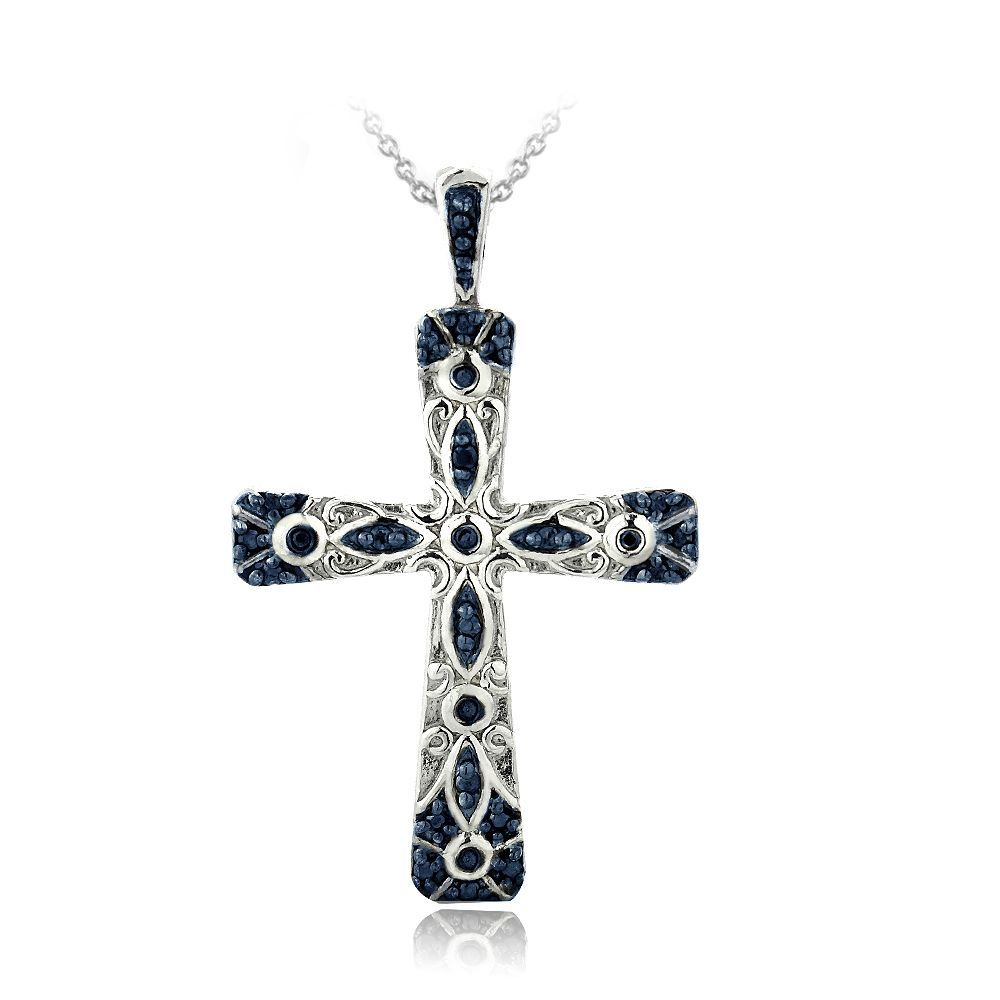 Db designs sterling silver blue diamond accent filigree cross db designs sterling silver blue diamond accent filigree cross necklace overstock shopping top rated diamond necklaces bling i love pinterest aloadofball Image collections