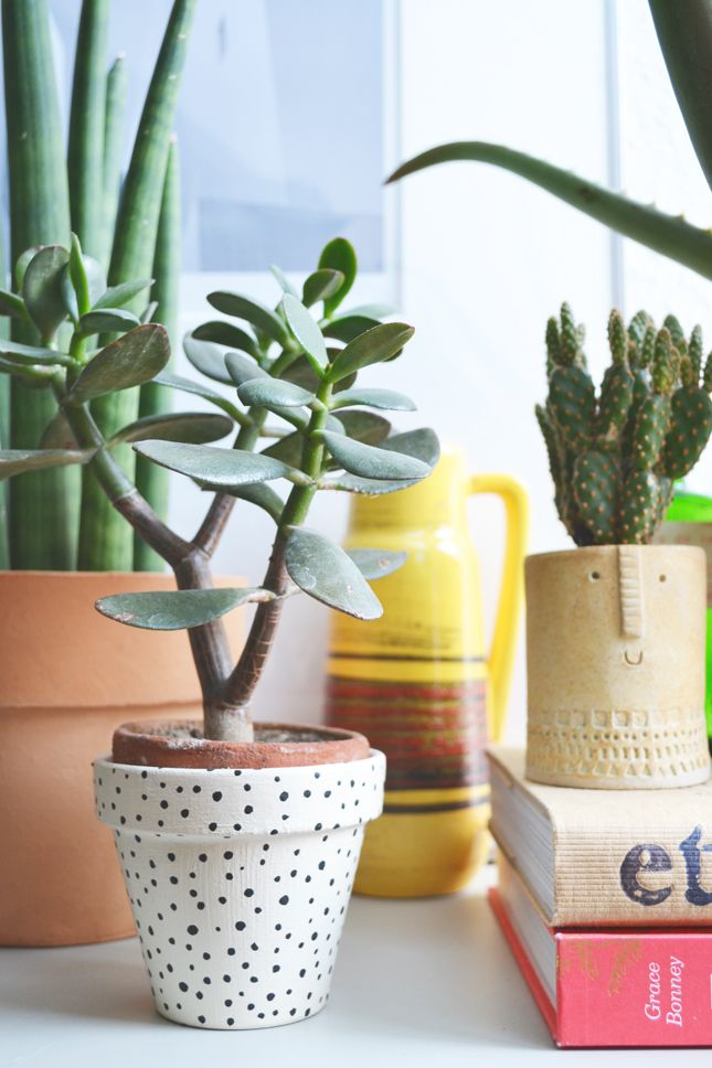 Spotted Plant Pot // Cute For A Desk! Good Ideas