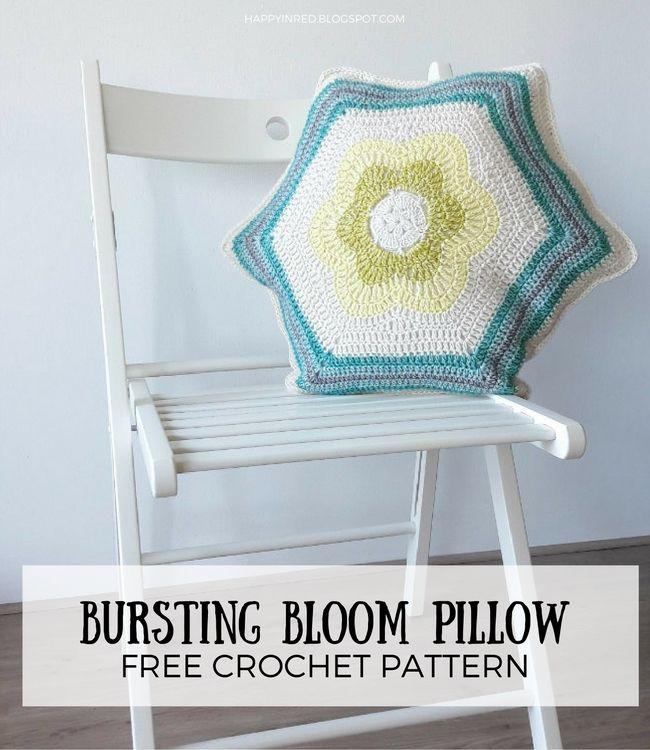Bursting Bloom Pillow, free crochet pattern | Happy in Red