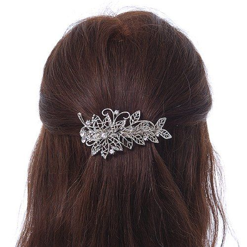 Amazon.com: Bridal Wedding Prom Silver Tone Filigree Diamante 'Flower & Leaves' Barrette Hair Clip Grip - 90mm Across: Beauty