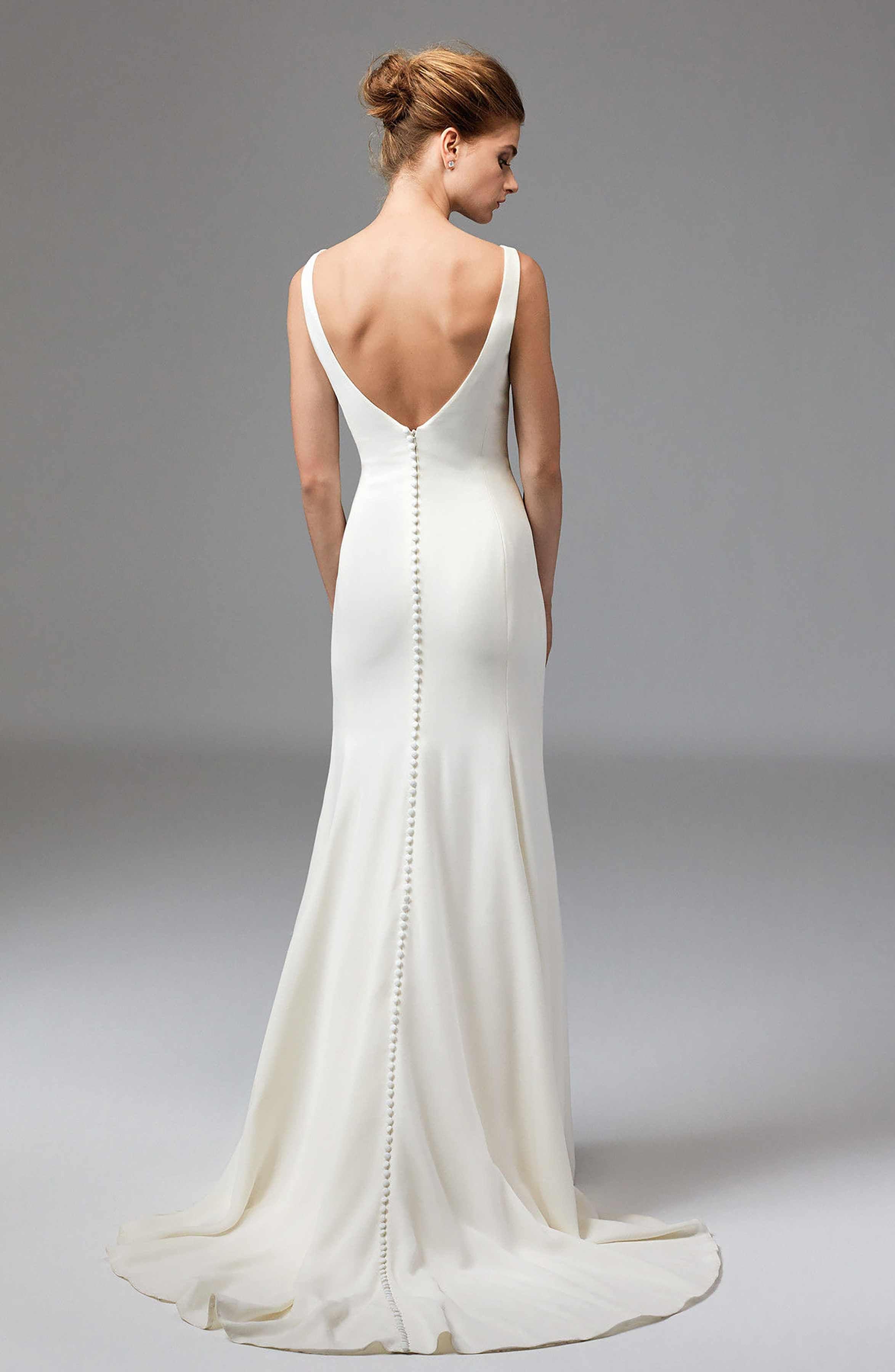 Romona keveza lace wedding dress october 2018 Main Image  Watters Leona Sleeveless Silk Gown  Marija in