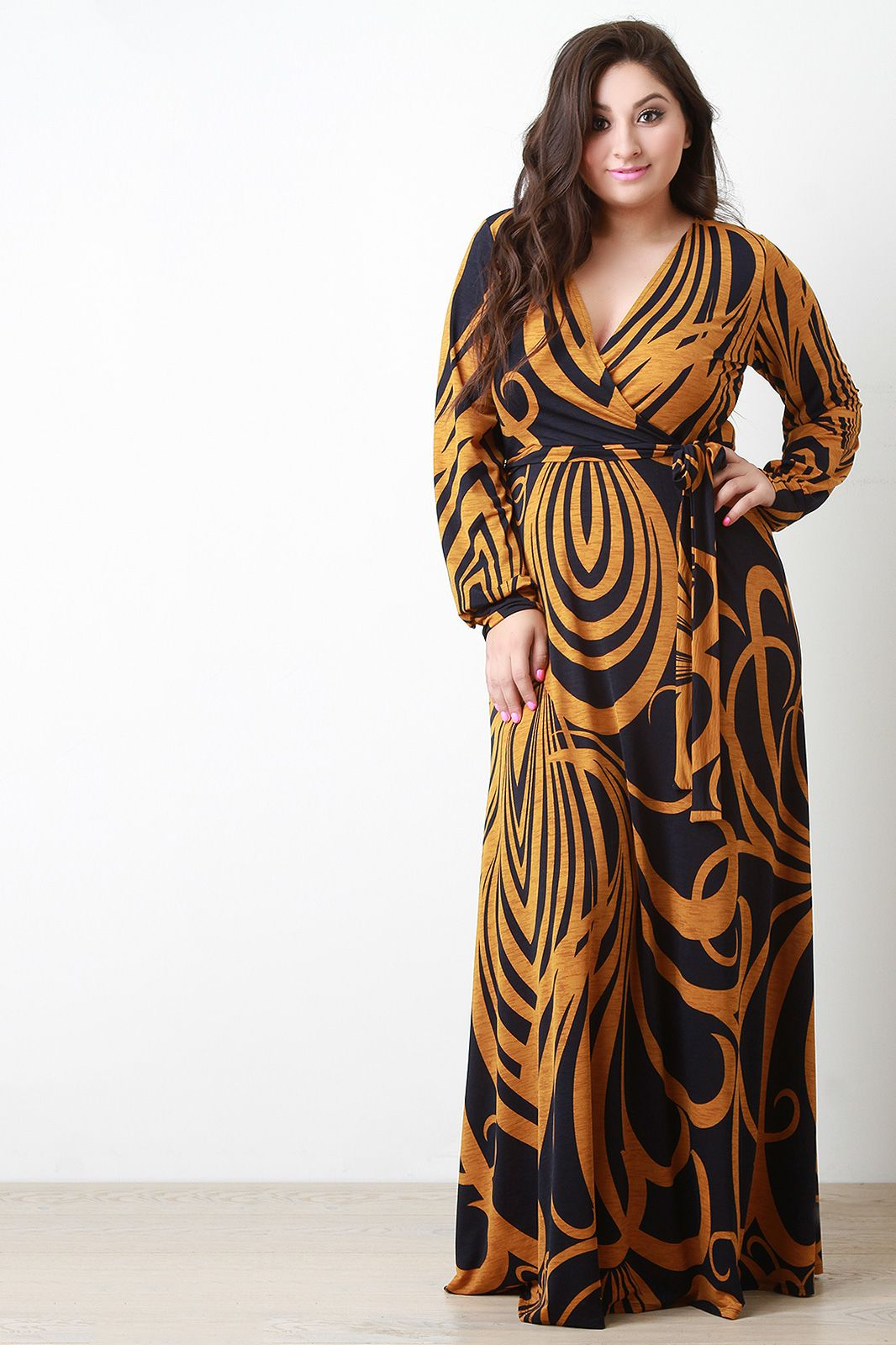 Abstract curve lines surplice longsleeve maxi dress source in