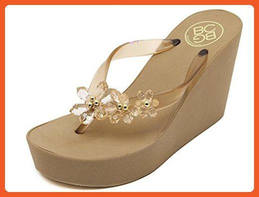 b92444a51bdc Women s Beaded Platform High Heels Wedges Sandals Thong Slippers (6 ...