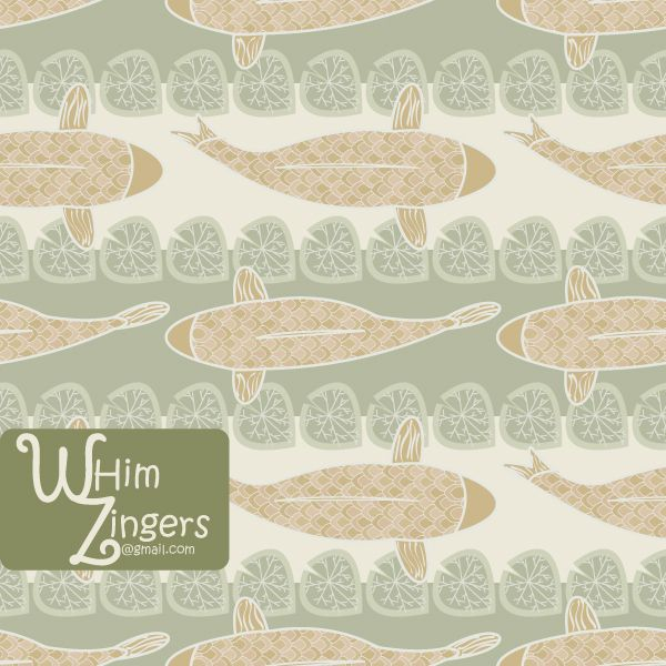 A digital repeat pattern for seamless tiling. #repeatpattern #seamlesspattern #textiledesign #surfacepatterndesign #vectorpatterns #homedecor #apparel #print #interiordesign #decor #repeat #pattern #repeat #seamless #repeating #tile #scrapbooking #wallpaper #fabric #texture #background #whimzingers #koi #fish #animals #gold #green #leaf #leave #asian #japanese #stripes #striped