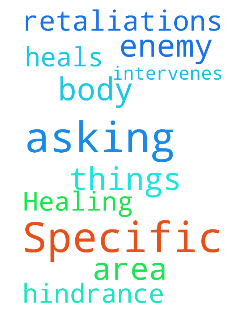 Specific Healing -  Asking prayer that the LORD intervenes and heals my body in a specific area; that there be no hindrance or retaliations of the enemy. Asking these things in Jesus name amen  Posted at: https://prayerrequest.com/t/r5b #pray #prayer #request #prayerrequest