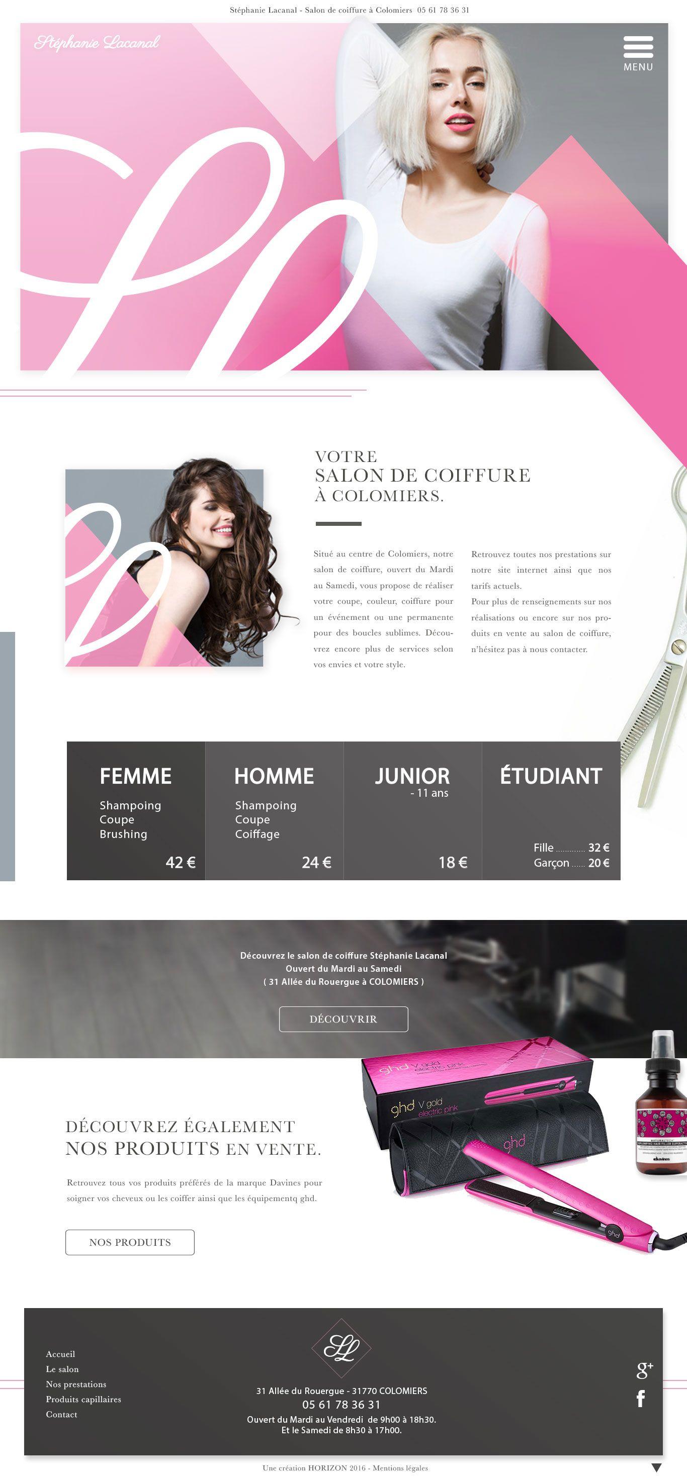 Webdesign pour site vitrine de salon de coiffure cr ation for Salon de coiffure toulouse