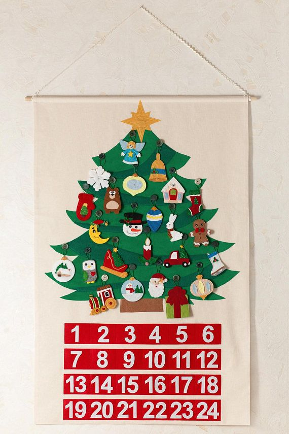 Tree Advent Calendar Christmas Tree Calendar Gift To Children Made With Fleece And Felt 24 1 Ornaments Wall Hang Natale Fai Da Te Alberi Di Natale Natale