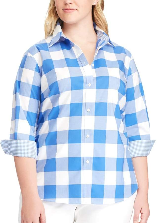7599c3c3698 Plus Size Striped No-Iron Broadcloth Shirt  wardrobe versatile shirt ...