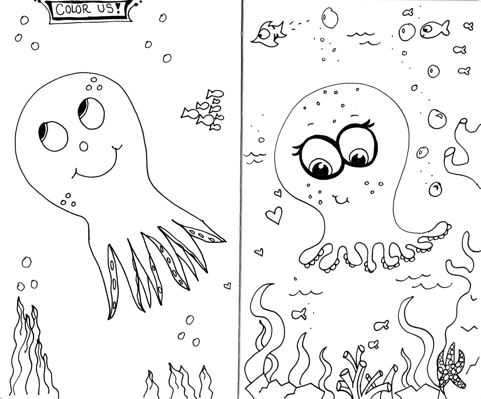Octopus coloring page andrew left and danielle right