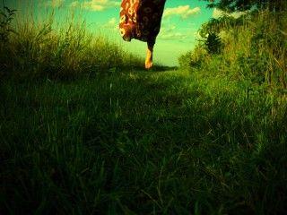 running on naked grass