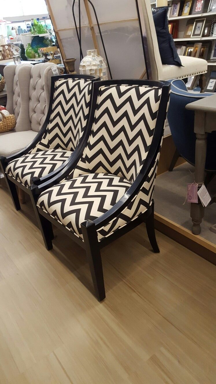 Check Out These Gorgeous Black And White Chevron Chairs. #TuesdayMorning