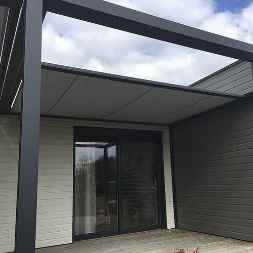 Pergola autoportante / en aluminium / couverture coulissante en - toile tendue pour terrasse