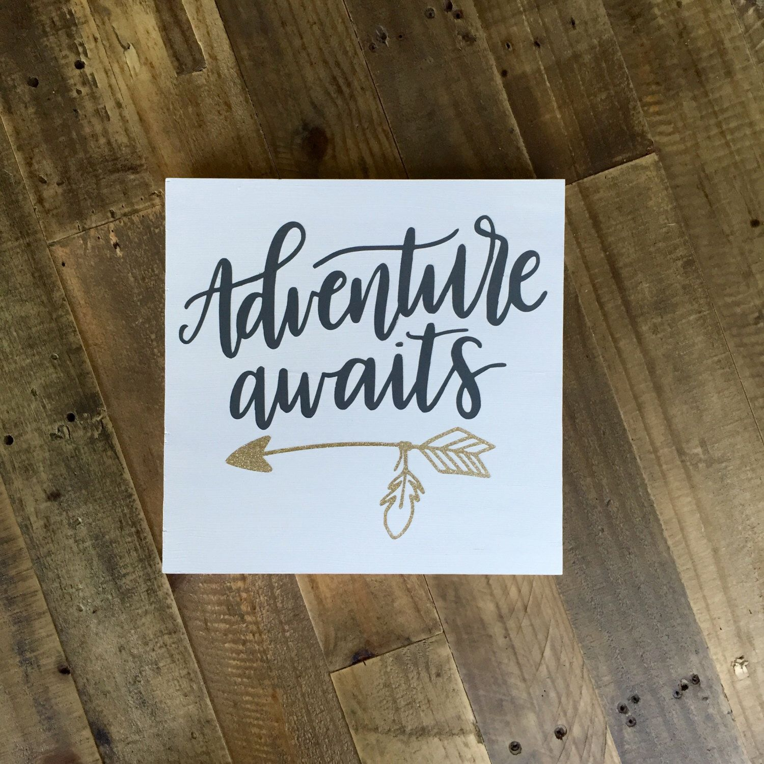 """12x12""""   adventure awaits sign   painted wood sign   wedding sign   baby shower gift   nursery decor   adventure sign   arrow sign by IvyandElmCo on Etsy https://www.etsy.com/listing/459730552/12x12-o-adventure-awaits-sign-o-painted"""