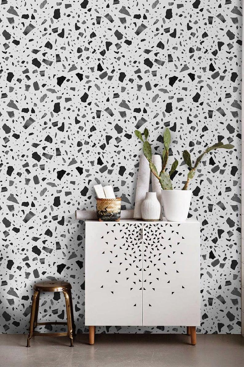 Marble Terrazzo Removable Wallpaper Granite B W Pattern Etsy Removable Wallpaper Herringbone Wall Wall Design