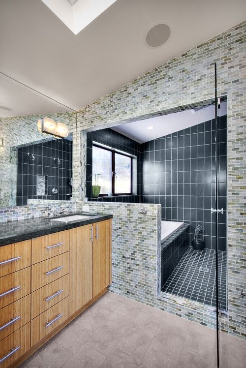 Image Of Luxurious Double Shower head Black Tiled Bathtub And Shower Idea