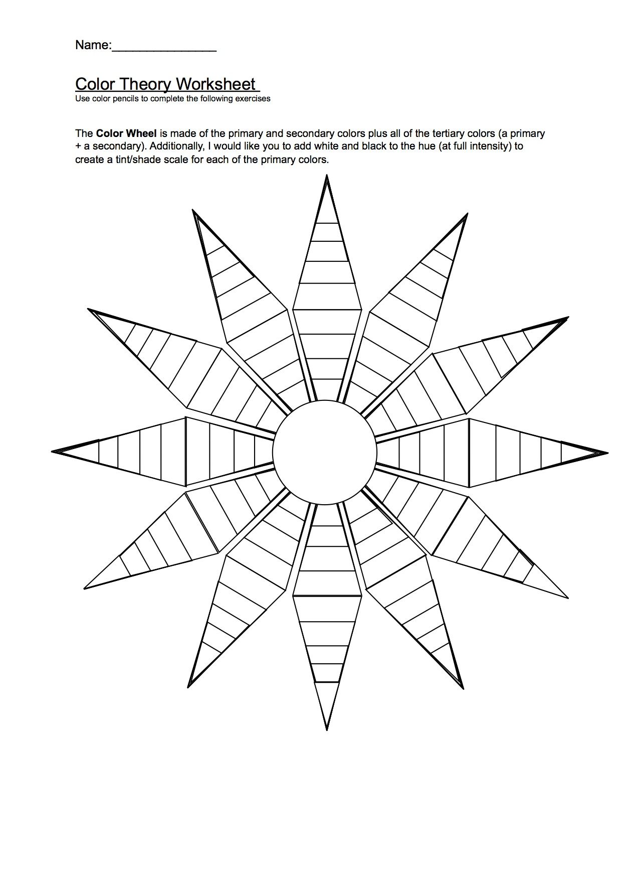 This is an image of Massif Printable Color Wheel Worksheet