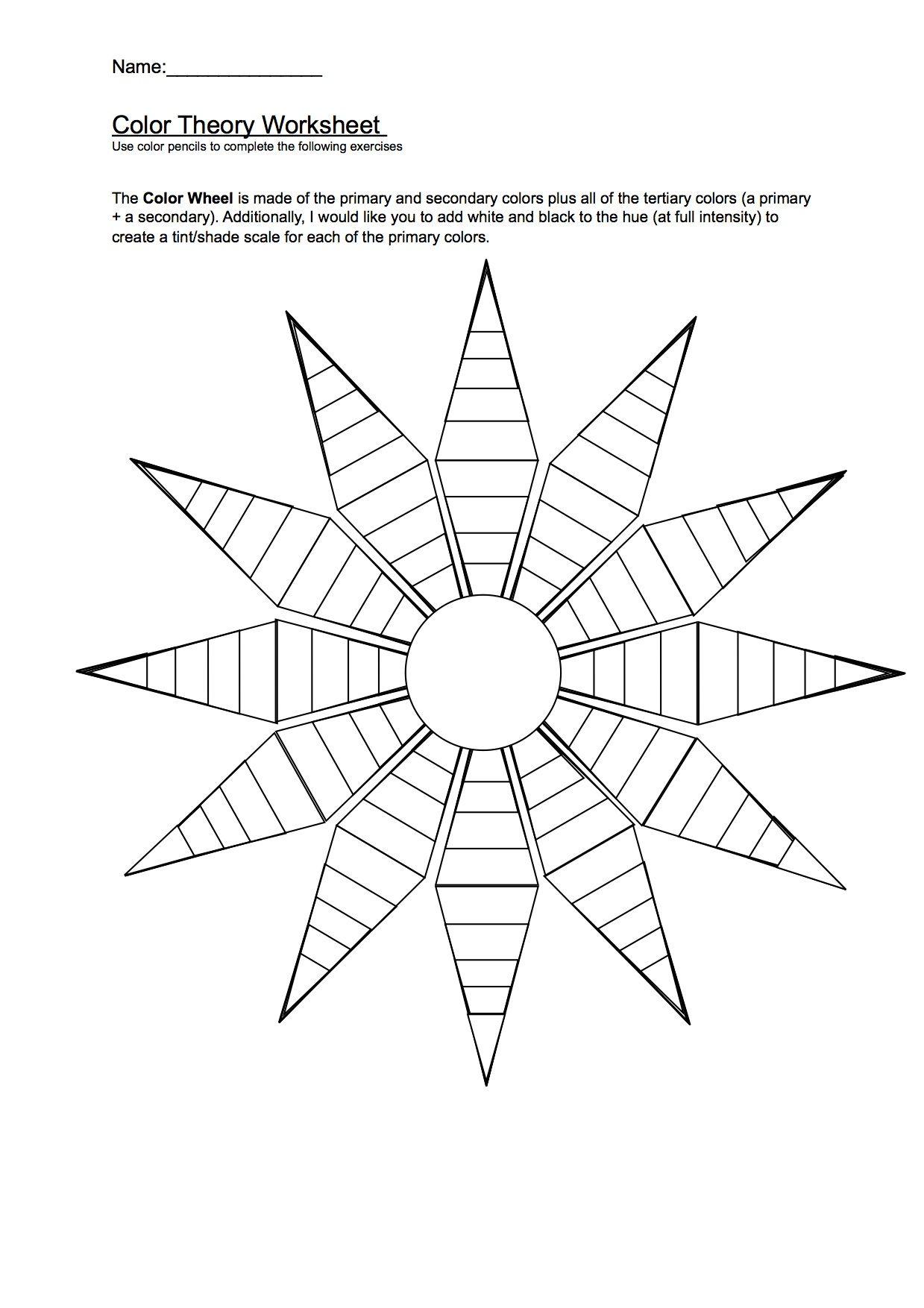 Color Wheel Worksheet   Art worksheets [ 1754 x 1239 Pixel ]