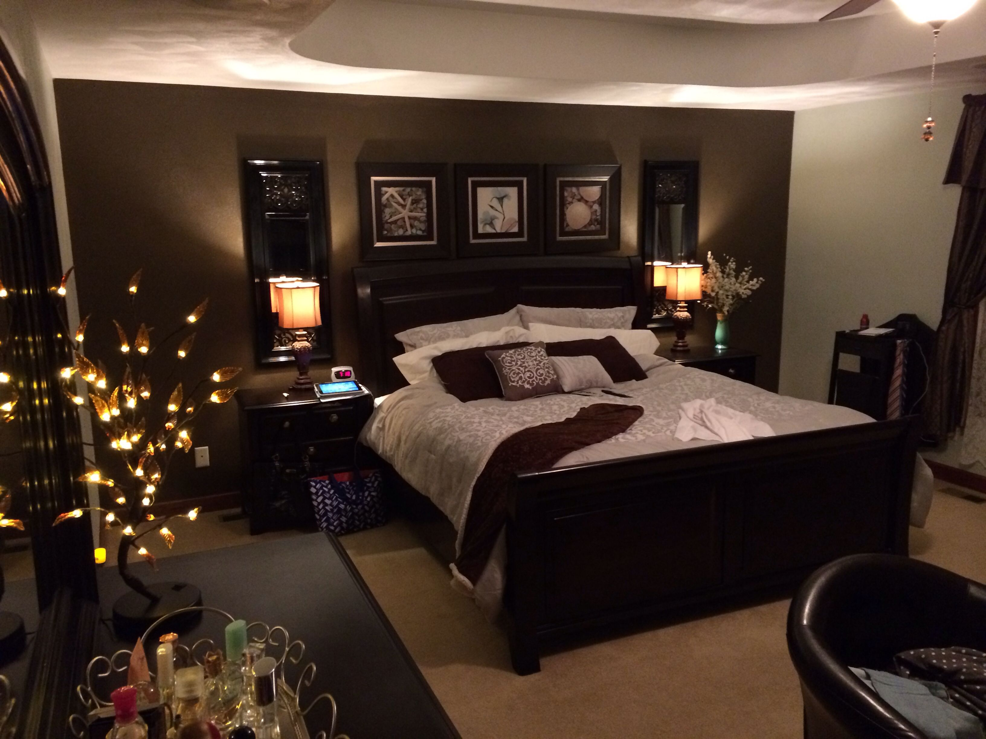 Elegant bedroom decor chocolate brown black sage and gray