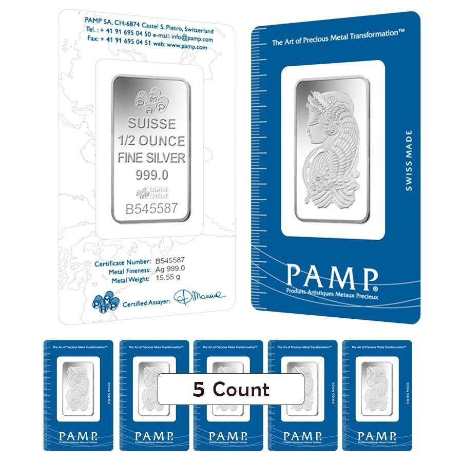 Lot Of 5 1 2 Oz Pamp Suisse Fortuna Silver Bar In Assay Silver Bars
