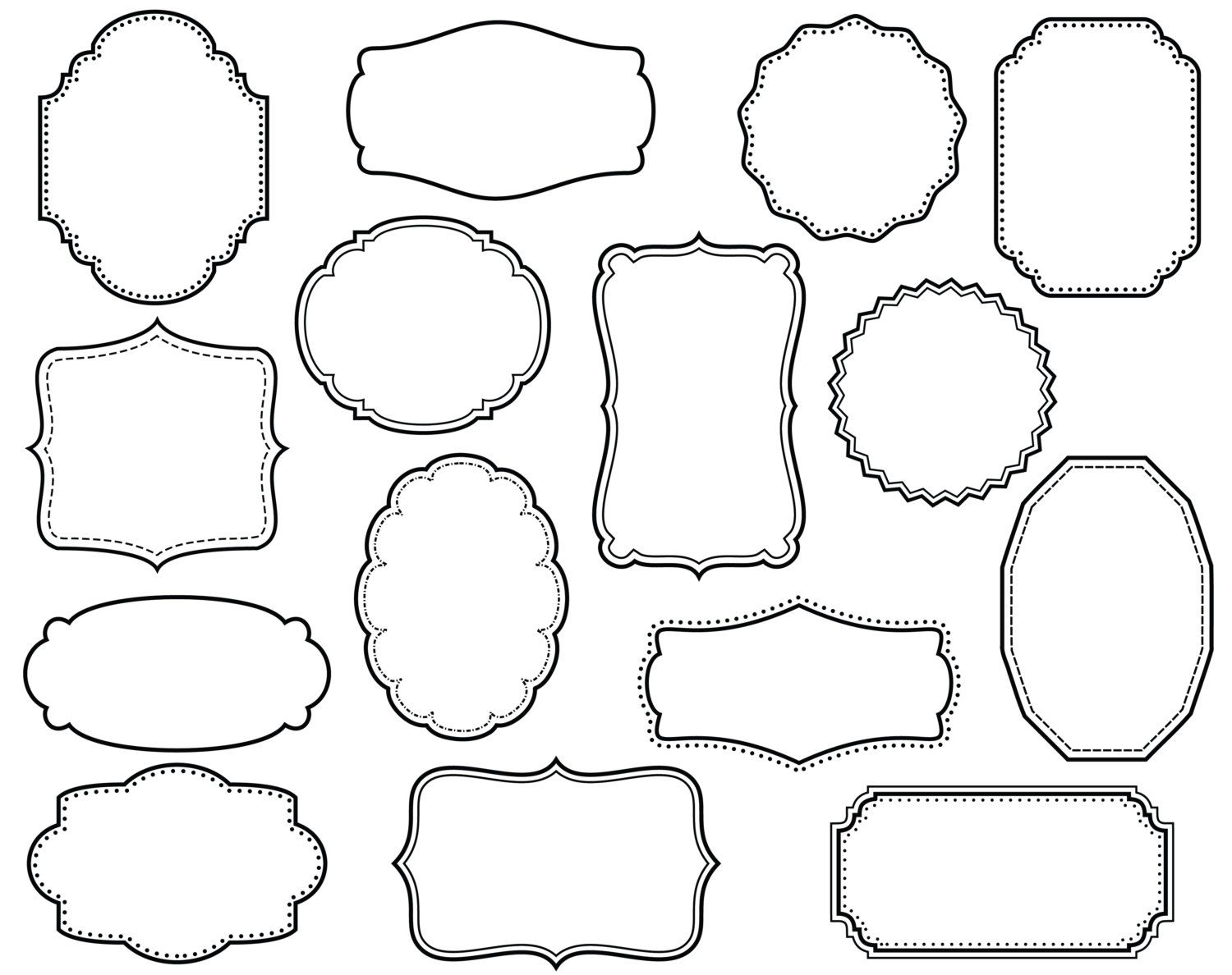 15 digital scrapbook frames clip art clipart by for Decor outline