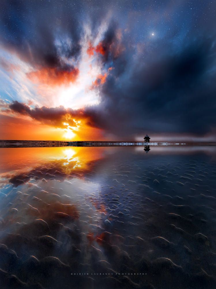 Fight For Light By Didier Laurancy Landscape Sea Sunset Water Reflection Beach Sun Light Clouds Cloudsca Water Photography Sunset Photos Nature Pictures