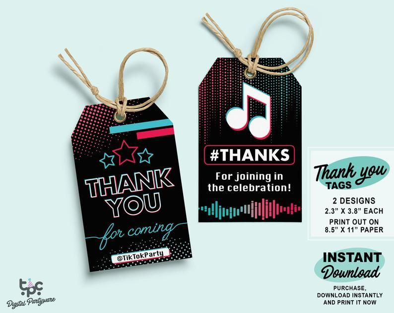Tiktok Inspired Thank You Tags Printable Tik Tok Birthday Etsy In 2021 Thank You Tag Printable Thank You Tags Birthday Labels
