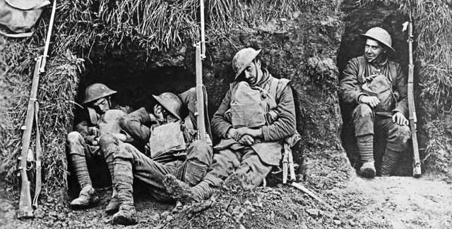 Image result for sleeping in trench ww1