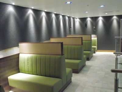 Superior Fixed Banquette Restaurant Seating,Designed, Manufactured And Installed For  210 Bistro Aberdeen. Material Design