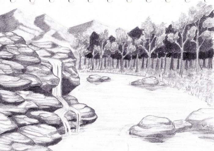 50+ Gambar Sketsa Lukisan Pemandangan Alam Hitam Putih