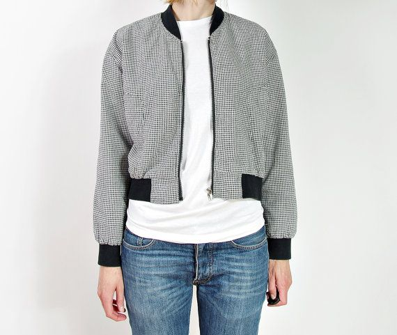 CRAZY SALE  80s Black & White Houndstooth Check by Only1Copy