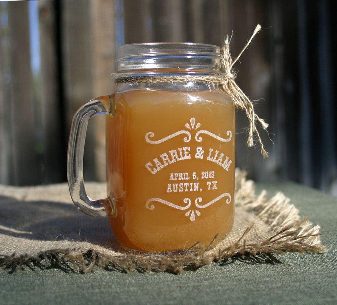 Tea Wedding Favors Personalized Mason Jar Mugs Rustic Dessert Bar Custom Jars Bride Gift