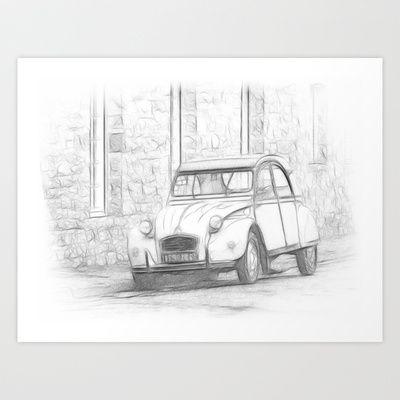Citroen 2 CV - Deux Chevaux Art Print by Rainer Steinke - $22.88 auto car automibile ente 2CV DeuxChevaux Döschwo #auto #car #automibile #ente #2CV #DeuxChevaux #citroen #Doeschwo #Döschwo