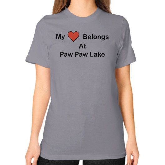 Unisex T-Shirt (on woman) - Paw Paw Lake Heart