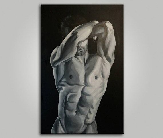 Naked Men Erotic nudity Large wall art Large Painting Nude man Gay Art Canvas wall art Black and whi